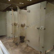 Туалетная кабина из матового стекла
