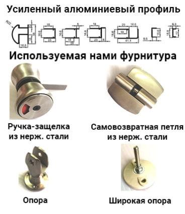 Туалетные перегородки МПГН используемая фурнитура