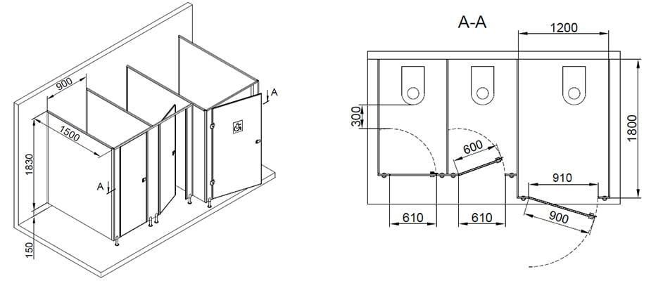 Туалетные перегородки МПГН схема